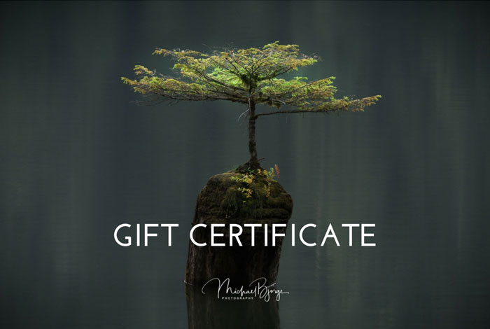 gift certificates online, landscape photography gift certificates, michael bjorge gift certificates