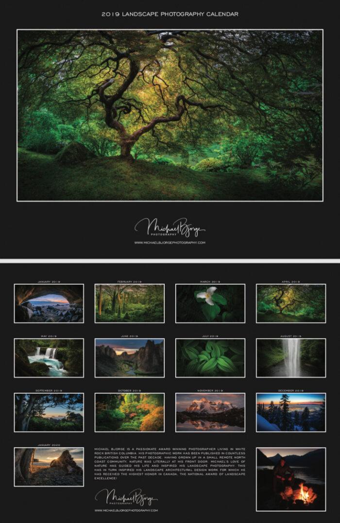 Canadian landscape photography calendars, michael bjorge calendars